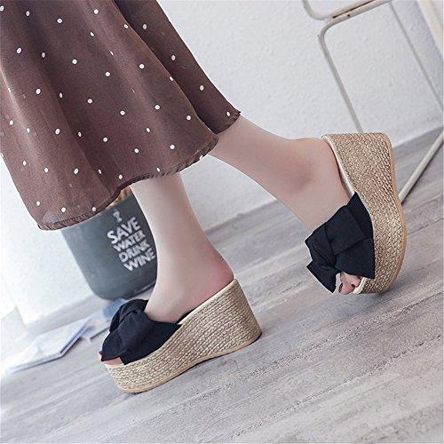PU Estate donna luce Scarpe SHINIK Comfort da Pantofole B e Open Scarpe da Tacco bianca piatto infradito camminata Toe per FEqtEI