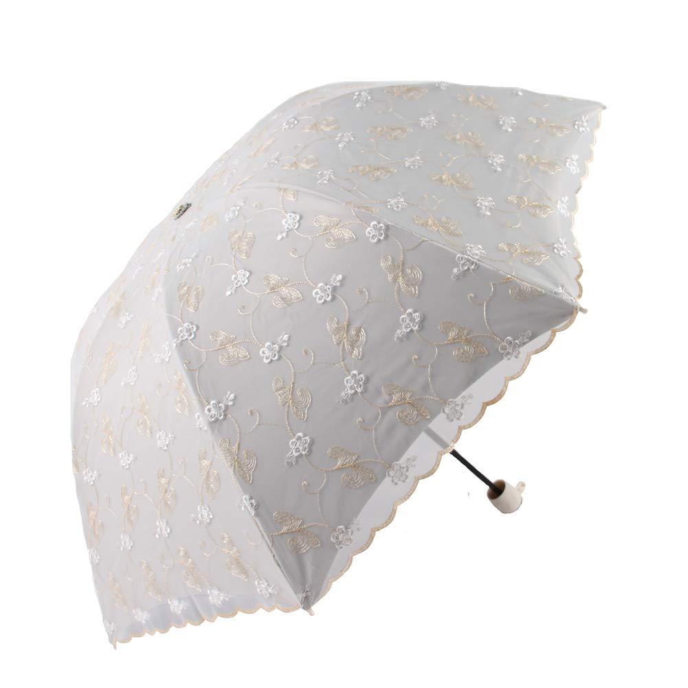 44acd4ac9301 Amazon.com: KXDAR Compact Lace Wedding Parasol Folding Travel Sun ...