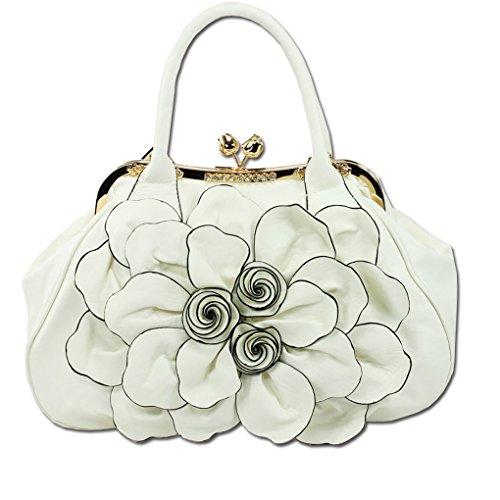 KAXIDY Handtasche Damentasche Blumentasche Crossbody Tasche Schultertasche Handtasche Hochzeit Tragetaschen (Weiß) Weiß 39LnWN