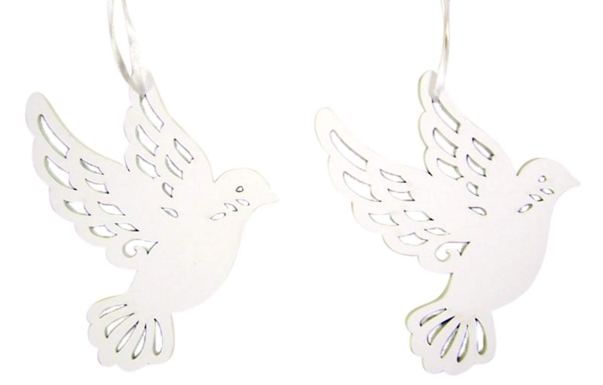 Wooden White Peace Dove Hanging Christmas Tree Ornament, 5 1/4 Inch, Set of 2