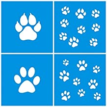 """Set of 4 - 4"""" x 4"""" (10cm x 10cm) Reusable Flexible Plastic Stencil for Graphical Design Airbrush Decorating Wall Furniture Fabric Decorations Drawing Drafting Template - Animals Cat Dog Leg Print"""