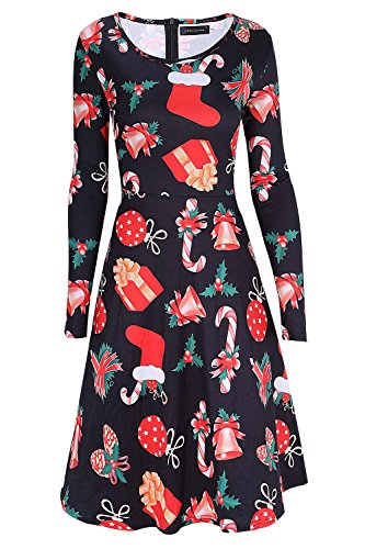 Christmas Dress Up Ideas (DREAGAL Women's Christmas Gifts Fit and Flare Cocktail Dress M)