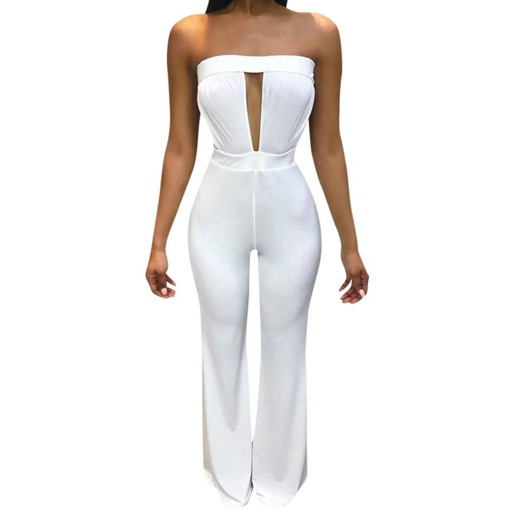 Minisoya Women Cut Out Off Shoulder Strapless Romper Playsuit Casual Solid Backless Wide Leg Jumpsuit Pants Clubwear (White, S)