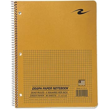 Roaring Spring Paper Products Graph Notebook, One Subject, 11 x 8.5 Inches, 80 Sheets, 5 x 5 Inches Graph Ruled, Assorted Color Covers (11209)