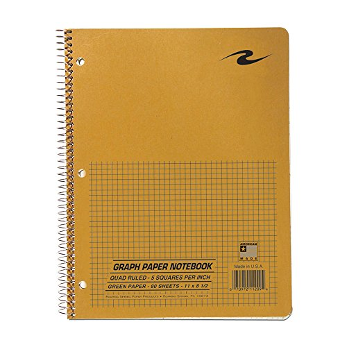 (Roaring Spring Paper Products Graph Ruled Notebook, One Subject, 11 x 8.5 Inches, 5 x 5 Inches Graph Ruled, Brown Kraft Cover, Snag-Proof Coil, Green Paper, 80 Sheets (11209))