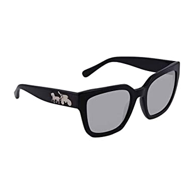 19ba90a2afc5 Coach HC8249 Sunglasses (Black Solid, Light Tint) at Amazon Women's  Clothing store: