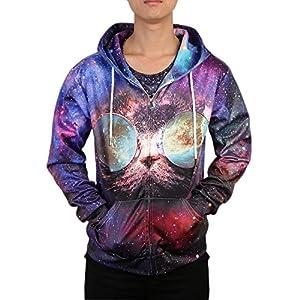 Leapparel Men/Women 3D Hoodie Full Zip Print Graphic Sweatshirts Pullover Casual Pocket Jacket