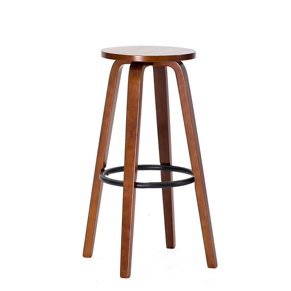 A LS-Stool Coffee Shop Stool Bar Chair Solid Wood Round Bar Chair High Stool Barstool Household Bar Chair 4 Legs (45cmX68.5cm)  & (color   B)