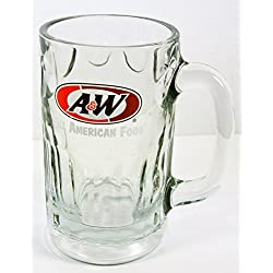"A&W Root Beer Tall Clear Glass Drinking Mug Cup 5.75"" tall"