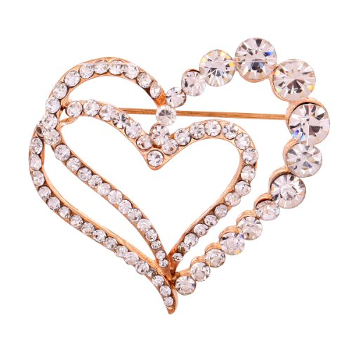 (YAZILIND Jewelry Rose Glaring Pretty Loving Heart Brooches and Pins Vintage for Women & Girls)