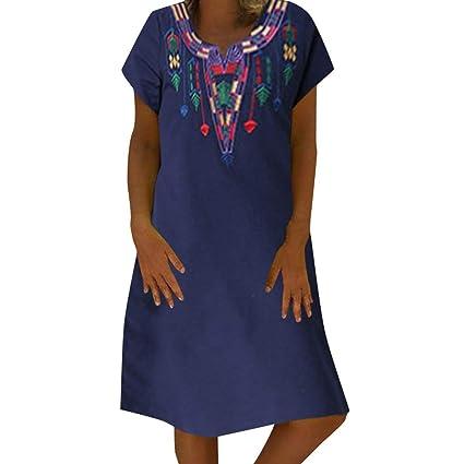 Bibao vestido casual para mujer, floral bordado mexicano campesino ...