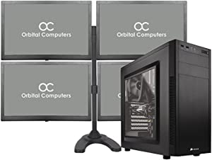 Complete Trading Computer System - Trading Computer + 4-Monitors + Quad Monitor Stand - Intel Core i7 8700, 4x1080p Monitors, Metal Quad Stand