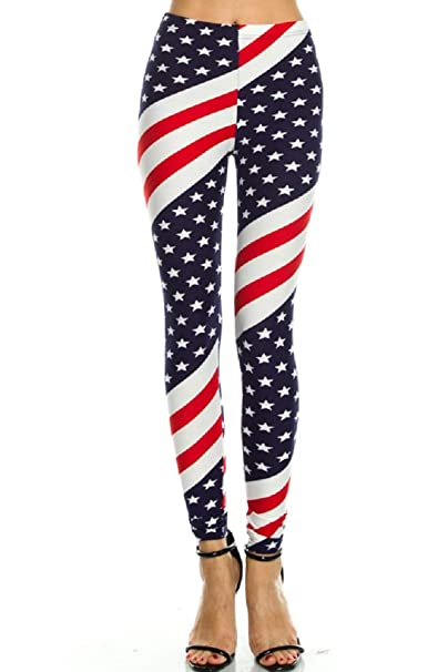 506064a1ae19 Amazon.com  Women s High Waisted Stretchy Leggings - Printed with American  Country Flag - Digital Print by Inks - Stylish Outfit for Patriots (One  Size