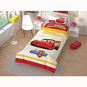 Cars Piston Cup Lightning McQueen Single/Twin Size Duvet Cover Set 3 pcs 100% Cotton Beding Linens for Kids Girls Children