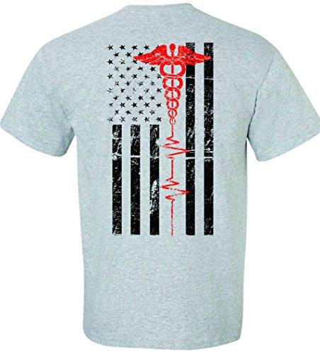 Patriot Apparel Nurses Thin Red Line EMT First Responder Paramedic Nurse Men's Unisex Mens Fit T-Shirt Design (Medium, Sport ()