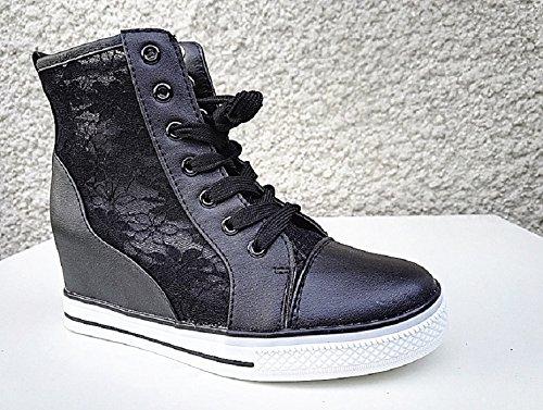 Di Del Allacciata Ragazza Modo Pizzo Z 1 Nero Sneaker Donna Compensato Scarpa SFw8qFv