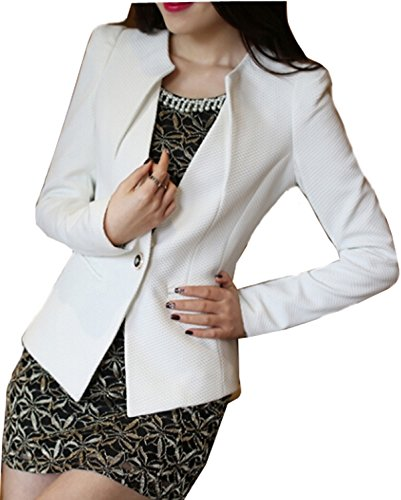 Autumn Outwear Women Slim Casual OL Short Suit Coat Jacket (Black) - 5