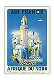 Pacifica Island Art Afrique du Nord (Africa of the North) - France - Vintage Airline Travel Poster by Bernard Villemot c.1949 - Master Art Print - 13in x 19in
