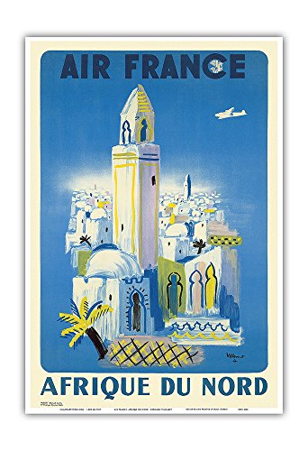 Pacifica Island Art Afrique du Nord (Africa of the North) - France - Vintage Airline Travel Poster by Bernard Villemot c.1949 - Master Art Print - 13in x 19in