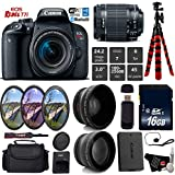 Canon EOS Rebel T7i DSLR Camera 18-55mm is STM Lens + UV FLD CPL Filter Kit + Wide Angle & Telephoto Lens + Camera Case + Tripod + Card Reader - International Version