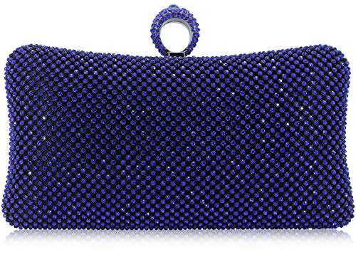 Dexmay Ring Rhinestone Crystal Clutch Purse Luxury Women Evening Bag for Bridal Wedding Party Cobalt -
