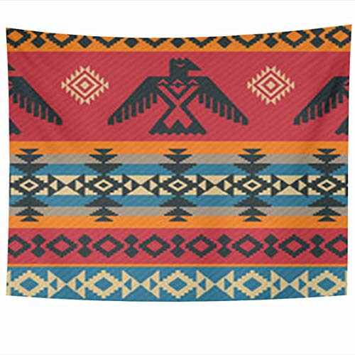 Alfredon Wall Tapestry Hanging, 60 x 50 Inches Indian Eagles Ethnic Geometric Tribal Pattern Design Abstract Native American Navajo On Tapestries, Decor for Home Bedroom Living Room Dorm