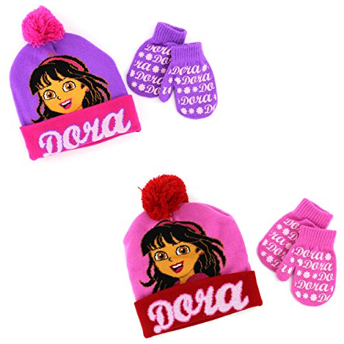 Disney Nickelodeon Toddler Girls Hat and Mittens Set (Purple/Pink Dora)