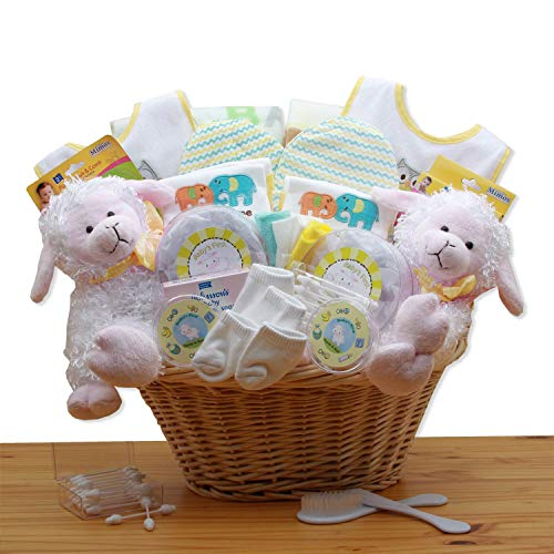 Double Delight Twins New Baby Gift Basket – Yellow