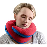 BCOZZY Chin Supporting Travel Pillow - Supports The Head, Neck, and Chin in in Any Sitting Position. Fully Washable. Available in Adult or Child Sizes. A Patented Product. Red