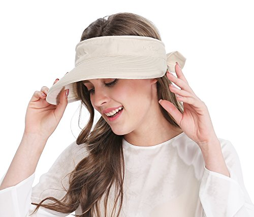 Women's Big Wide Brim Sun Hat UV Protection Visor Sun Hat Lightweight Golf Folding Hat, Beige (Brim Visor Large)