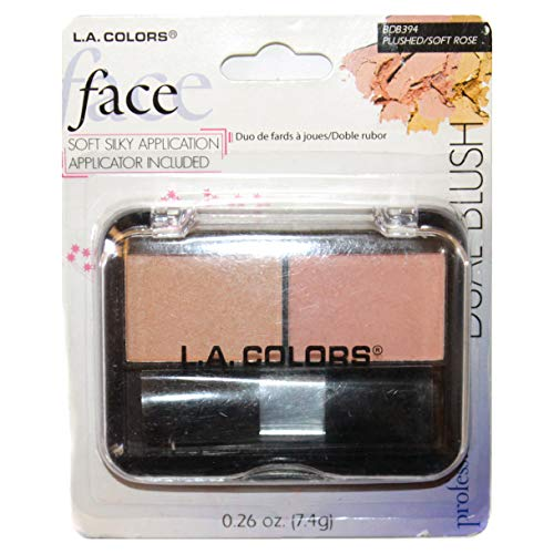 L.A. Colors (1) Compact Dual Blush - Plushed/Soft Rose - Two Shades Long Wearing Formula with Applicator Brush #BDB394 0.26 oz ()