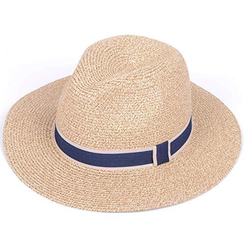 Lanzom Women Wide Brim Straw Panama Roll up Hat Fedora Beach Sun Hat UPF50+ (Y-Beige) by Lanzom