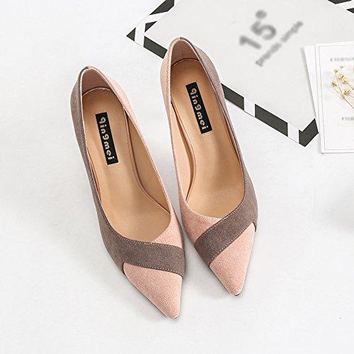 Femmes Mocassins Chaussures De Mode Slip Sur Bout Pointu Talon Haut Deux Tons Moderne Penny Rose