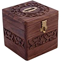 VISHAL INDIA CRAFT Handcraft Wooden Money Bank, Coin Holder, Piggy Bank (Brown)