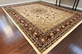 Dunes Traditional Isfahan High Density 1'' Thick Wool 1.5 Million Point Persian Area Rug, 2' x 3', Cream