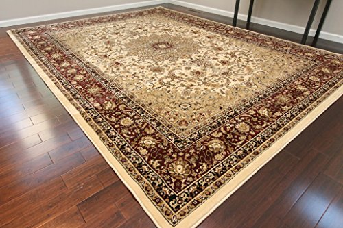 Cream Traditional Isfahan Dunes High Density 1 Inch Thick Wool 1.5 Million Point Persian Area Rugs 4