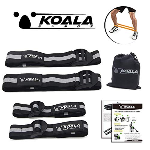 Koala Bands | Flexible premium bands comfortable for blood flow restriction training | BUNDLE PACK OF 4 ( 2 bicep bands ) ( 2 leg bands ) | Comes with portable bag by KOALA BANDS