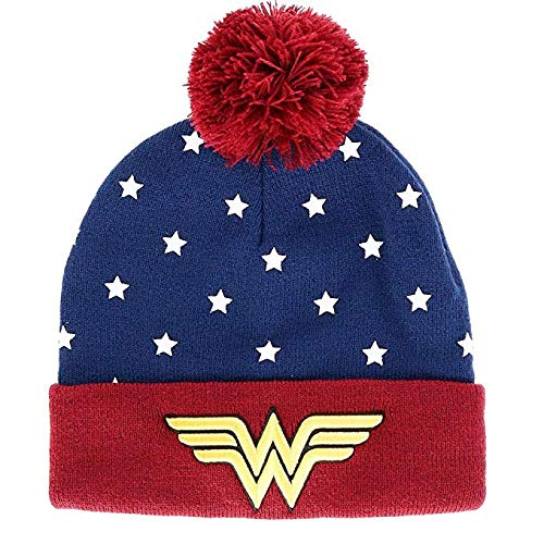 (Juniors DC Wonder Woman Navy, Red & Gold Cuff Pom Beanie Standard )
