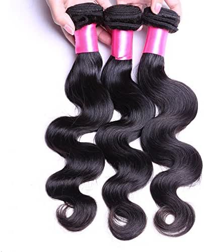 DFX Hair (TM) 8~30 inches Brazilian Virgin Human Hair Extension Body Wave, Pack of Three, 100g/Bundle, 8A Natural Color Weft (22 24 26)