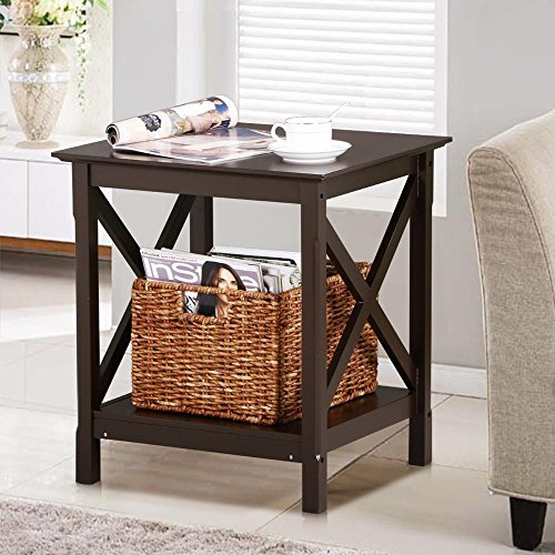Yaheetech Espresso X-Design Wood End Table with 2 Display Shelves Wood Accent Side Table Living Room Furniture (Tables Room Square Living Side)