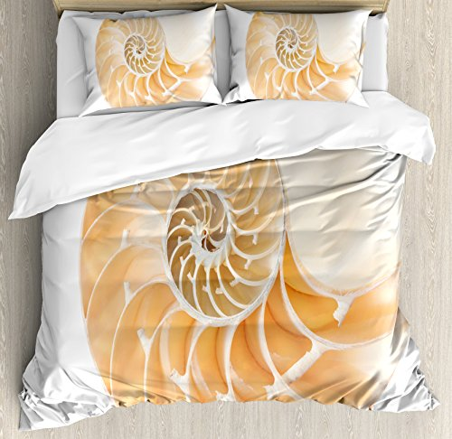Nautilus 3 Piece (Sacred Geometry Duvet Cover Set King Size by Ambesonne, Nautilus Shell Showing the Chambers in Distance Curves Helix Hidden Print, Decorative 3 Piece Bedding Set with 2 Pillow Shams, Cream White)