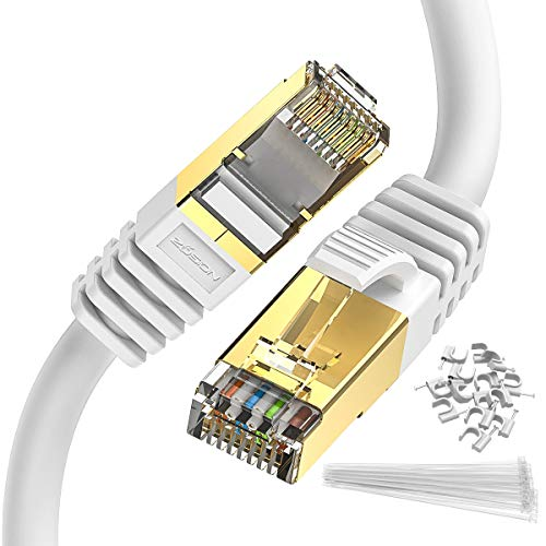 Ethernet Cable 50 ft Cat 8 Zosion RJ45 Network Patch Cable 40Gbps 2000Mhz High Speed Gigabit SSTP LAN Wire Cable Cord Shielded for Use of Smart Office Smart Home System iOT Gaming Movie Xbox White