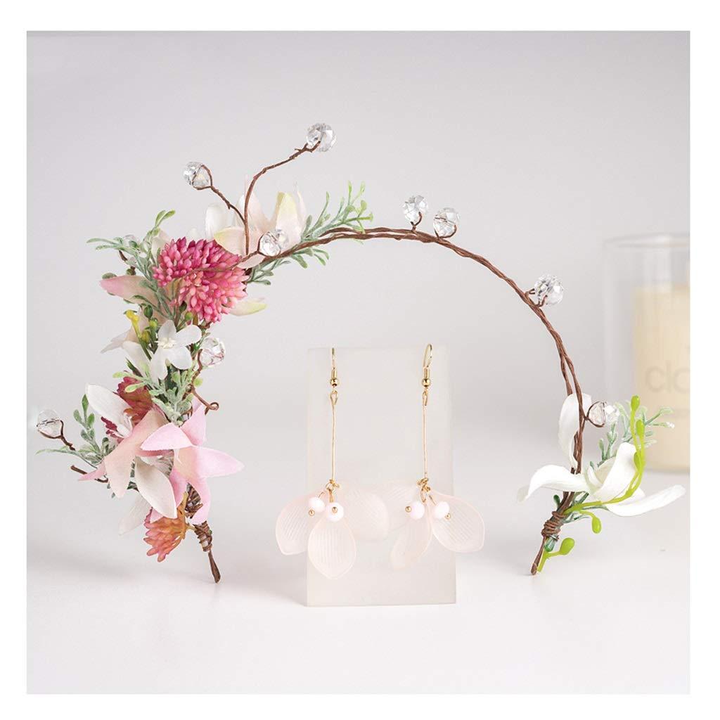 Wreath Flower Bride Headdress Earrings Set Girl Super Fairy Headband Wedding Dress Hair Accessories (Size : 306cm)