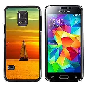 "For Samsung Galaxy S5 Mini ( NOT for regular S5 ) , S-type Puesta del sol del barco Beautiful Nature 9"" - Arte & diseño plástico duro Fundas Cover Cubre Hard Case Cover"