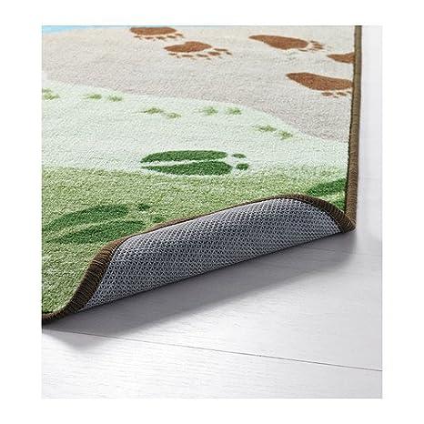 IKEA Vandring SPAR - Alfombra, pelo corto, marrón, verde - 133x133 cm: Amazon.es: Hogar