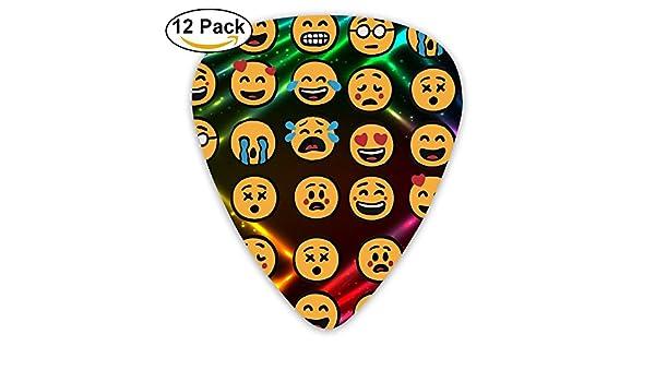 Emoji - Púas de guitarra clásicas de celuloide con forma de 351 para guitarra, ideal como regalo para hombres y mujeres, incluye 0,46 mm, 0,71 mm, 0,96 mm, ...