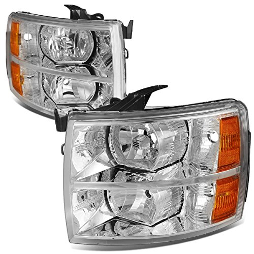 For 07-13 Chevy Silverado Pair Chrome Housing Amber Corner Headlight/Lamps