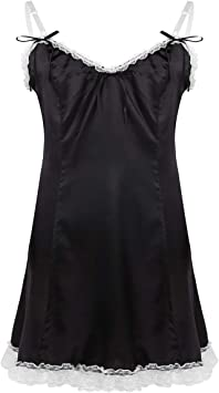 2 pcs satin à bretelles noir avec robe de chambre