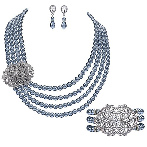 Brooch Earring Jewelry Set (BABEYOND Pearl Necklace Bracelet and Earrings Set with Crystal Brooch Bridal Pearl Jewelry Sets for Women 4 Strands Wedding Pearls (Gray))