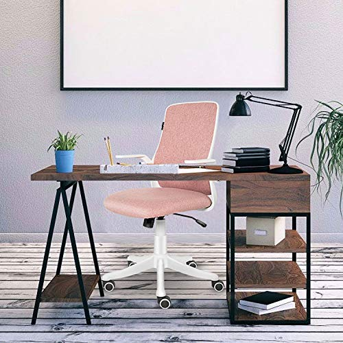 ELECWISH Office Chair Ergonomic Desk Chair Mid Back Office Computer Swivel Adjustable Rolling Task Chair Executive Chair with Flip up Armrests, Pink